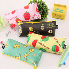 1Pc Cute Girl PU Leather Fruit Printed Pencil Pen Case Cosmetic Makeup Bag Pouch