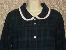 Lanz of Salzburg Flannel Nightgown LONG Cotton S M Forest Green Navy Blue New