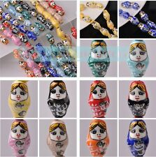 Cute Porcelain Doll 3/10pcs 22x13mm Ceramic Porcelain Charms Loose Spacer Beads