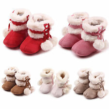 2016 Children Girls Xmas Bowknot Boots Anti-slip Shoes Prewalkers First Walkers