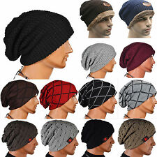 Men Women Warm Wool Knitted Ski Beanie Skull Slouchy Unisex Oversize Biker Hat