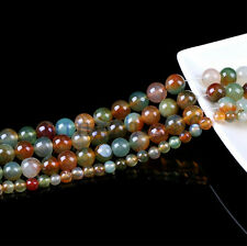 50Pcs Round Natural Agate Mixed Color Bead Loose Spacer Bead Jewelry Findings