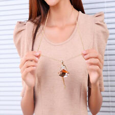 Fashion Gold Plated Sweater Chain Shiny Crystal Ballet Girls Pendant Necklace