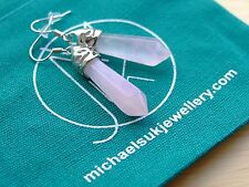 Rose Quartz Gemstone Earrings Natural Quartz Crystal Chakra Healing Stone Reiki