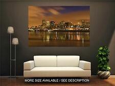 Wall Art Canvas Print Picture Montreal Skyline Night with Golden Clouds-Unframed