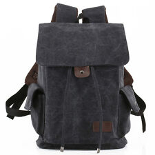Mens Vintage Drawstring Military Backpack Bookbag Satchel Travel Rucksacks Bags