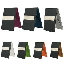 Mens PU Leather Silver Money Clip Slim Wallets ID Credit Card Holder Purse Cheap