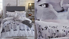 CATHERINE LANSFIELD PENGUIN COLONY ANIMAL GREY WHITE DUVET QUILT COVER BED SET