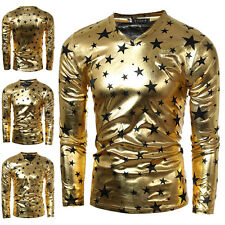 Autumn Casual Mens Long Sleeve T-Shirt Star Print Slim Fit Basic Tee Shirts Gold