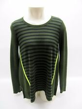 Womens Duffy Green Striped Cashmere Wool Long Sleeve Crew Neck Sweater Top Small