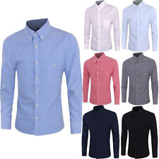 Mens Fashion Long Sleeve Slim Fit T Shirt Pure Color Casual Dress Shirts Tops 0z