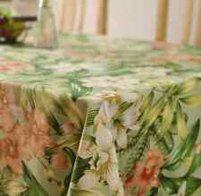 Elegant Floral Green Home Dinning Coffee Table Cotton Linen Cloth Covering O