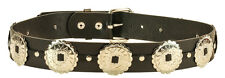 Large Round Concho Genuine Leather Belt Punk Goth Emp Rockabilly Bikers Metal