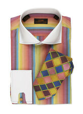 Dress Shirt by Steven Land Spread Collar  French Cuffs-Multi-DW521-MU