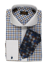 Dress Shirt by Steven Land Cutaway Collar  French Cuff-Blue-TW519-BL