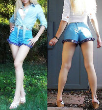 New Vovadini High Waist 80-s look Denim Shorts with  RUFFLES, XXS,XS,S, USA