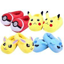 Pokémon Ball Pikachu Eevee Soft Plush Stuffed Slippers Adult Size Home Shoes