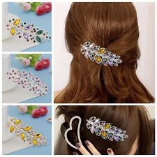 Womens Elegant Silver Plated Leaves Style Rhinestone Hair Clips Headwear Hairpin