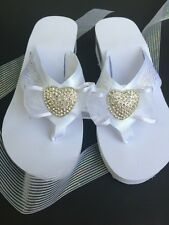 White Bridal Flip Flops, Wedding Wedge Shoe, Rhinestone Heart, ribbon and lace.