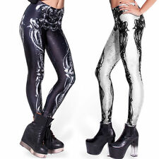New Womens Skull Bone Leggings Digital Print Stretchy Skeleton Slim Tight Pants
