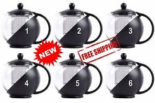 25 oz Tea Shop Boba Tempered Glass Tea Pot Infuser with Stainless Steel Basket