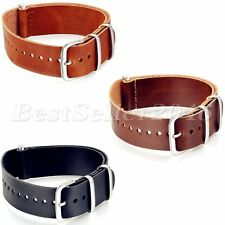 New Army Military Mens PU Leather Watch Strap Band 20mm Stainless Steel Buckle