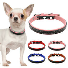 Soft Padded Leather Small Dog Cat Collars for Puppy Chihuahua Red Pink Blue XS S