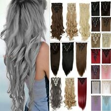 Real Synthetic Thick 8 Pcs 18 Clips Full Head Clip in Human Hair Extensions FH6