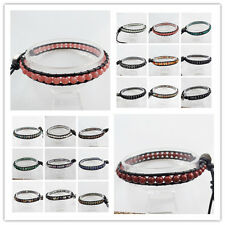 4-8mm Pure Handmade Mixed Gemstones Beads Wrap Leather Adjustable Bracelet U338