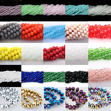 Lots 4/6/8/10MM Rondelle Faceted Crystal Glass Loose Spacer Beads Charm Findings