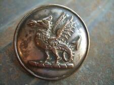 ANTIQUE LIVERY BUTTON:  FIRE-BREATHING WYVERN. LARGE. SILVER PLATE ON COPPER