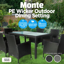 7pc Dining Table Chair Set PE Wicker Garden Pool Outdoor Furniture Setting