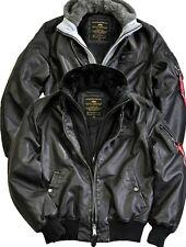 Alpha Industries MA-1 D-TEC FL Aviator Leather Jacket Bomber Pilot