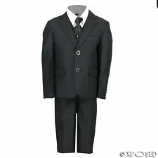 Kids Page Boys 3 Piece Black Suit Wedding Party Smart Formal Wear Age 2 -12 Year