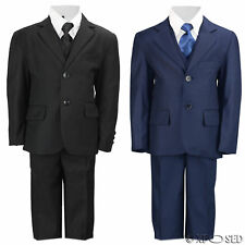 Kids Page Boy 3 Piece Suit Outfits Black Navy Blue Wedding Party Age 2 - 12 Year