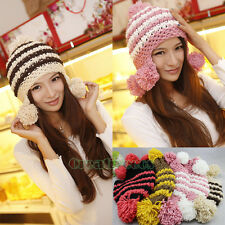 Women's Sweet Stripe Baggy Beanies Cap Winter Wool Braid Knit Earflap Hat PomPom
