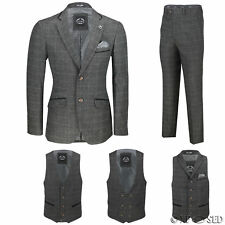 New Mens Grey Tweed Check 3 Piece Suit Sold Separately Blazer Trouser Waistcoat