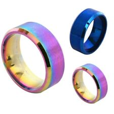 Men Women Rainbow Color 8mm Stainless Steel Ring Band Wedding Ring Size 5-14""