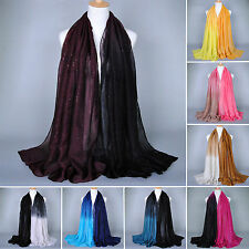 Fashion Lady Women Fall Scarf Gradient Color Stole Shawl Wrap Soft Voile Scarves
