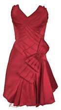 Karen Millen Red Bow Prom Dress Sz 12 Satin Corset Full Skirted Evening Cocktail