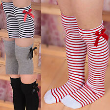 Girls Long Knee Socks Children Baby Toddler Bowknot Striped Leg Warmers Pleased
