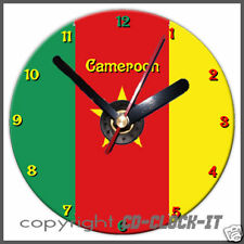 Cameroon Flag Wall/Desk CD Clock & Stand Plus Personalised Message