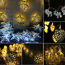 10LED Metal Lights Battery Operated String Light Party Christmas Garden Outdoor