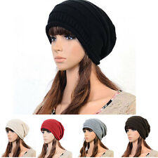 NEW Unisex Winter Plicate Baggy Beanie Knit Crochet Ski Hat oversized slouch Cap