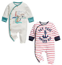 StylesILove Baby Boy Set Sail Nautical Sailor Soft Cotton Overalls Romper