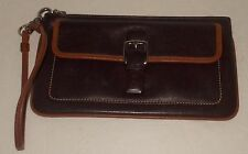 COACH Choco Brown Leather Id's & Coin Organizer Wristlet Small Wallet