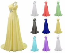 One Shoulder Beaded Evening Dress Wedding Bridesmaid Dresses Prom Party Gown