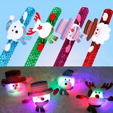 Christmas LED Flash Light Slap Band Glowing Wristband Bracelet Xmas Party Bangle