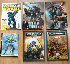 Lot of 6 Warhammer 40K Codex Books & Publications Space Marines Tau Orks EUC