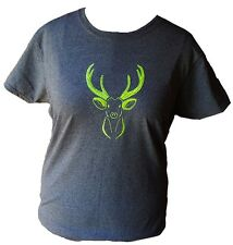 Women's Buck Deer Embroidered lime green Gildan Cotton t-shirt heather grey sz L